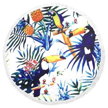 Summer Fun Round Beach Towel Toucans