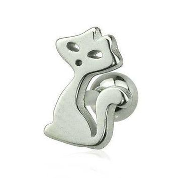 "Cartilage/Tragus Ear w/Kitty Cat 10mm 16 Gauge 1/4"" Steel Body Jewelry"