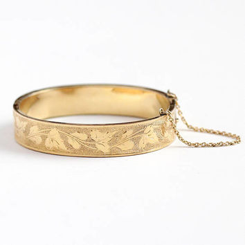 Antique Ivy Bangle - 14k Rosy Yellow Gold Filled Hinged Ivy Leaf Vine Jewelry - Vintage 1890s Victorian Symbolic Eternity Leaves GF Bracelet