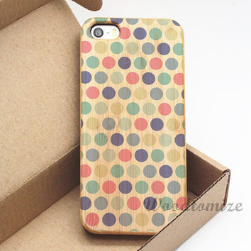 Colorful dots wood case - iPhone 5C case, iPhone 5S 5 case, iPhone 4S 4 case, Wood cover, Bamboo, Cherry wood, FREE screen protector - A57