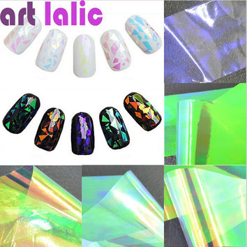 5 Sheets 3D Holographic Broken Glass Foils Finger Nail Art Mirror Stickers Glitter Stencil Decal DIY Manicure Design Tools
