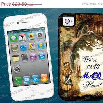 SALE Alice in Wonderland iPhone tough case - Were all mad here iPhone 5 plastic case, 2 piece rubber lining case