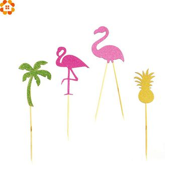 12PCS Birthday Party Flamingo Cupcake Toppers Cute Cakes Topper Picks Wedding/Birthday Party Decoration Baby Shower Supplies