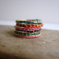 Colorful Stackable Rings Sterling Silver Gifts Under 75