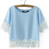 Blue Short Sleeve Floral Crochet Top