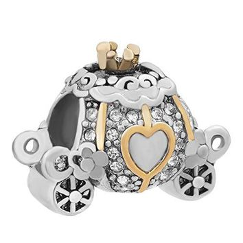 Charmed Craft Pumpkin Cinderellas Carriage Charms Heart Love Charm Beads for Bracelets