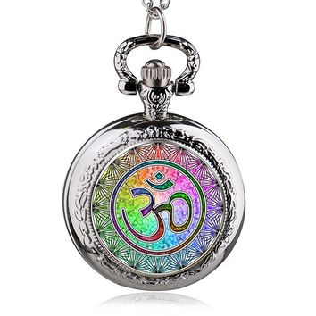Pocket Watch Yoga Jewelry Colorful Glass Lockets Necklace Om Pocket Watch Necklace Pendant