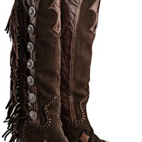 GORGEOUS TALL DOUBLE D RANCH LANE FRINGED BROWN VAQUERO COWGIRL BOOTS