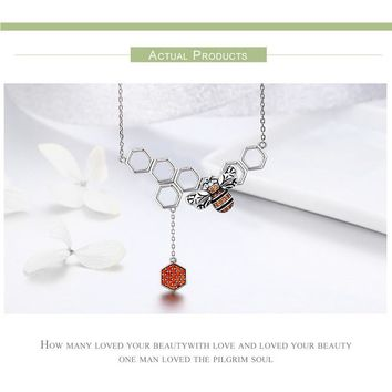 Honey Bee on Comb Necklace and Earrings, SET or Individual Pieces.  ADORABLE!  925 Silver