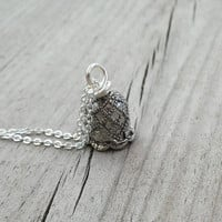 Bell Necklace, Bell flower Necklace, Silver Plated Chain, Bell Pendant, Silver Bells Jewellery