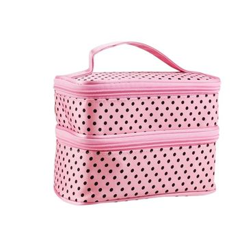 Pink Polka Dotted Two-layer Cosmetic Make-up bag