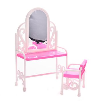 One Set Kid's Play Toys Plastic Dresser & Chair Set Dollhouse Furniture Doll Accessories For Barbie Dolls Dresing Table