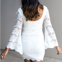 Bell Sleeve White Lace Bohemian Dress