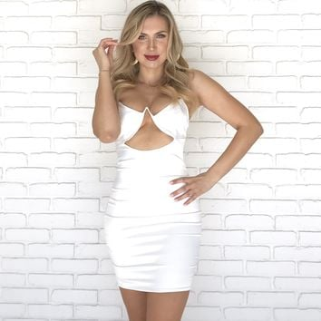 Sheen In Satin Bodycon Dress in White