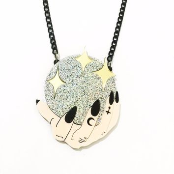 Acrylic Cutting Creative Witch Choker Necklace Funny Magic Glitter Ball Necklace for Women