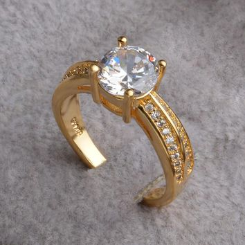 Fashion Summer Jewelry AAA Zirconia Punk Ring Gold Color with 925 stamp Austrian Crystals Rings for Women Jewelry Bague Femme