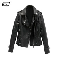 Fitaylor 2018 Spring Autumn Women Moto & Biker Pu Faux Leather Jacket Women Short Coat Black Pink Bomber Motorcycle Jacket Mujer