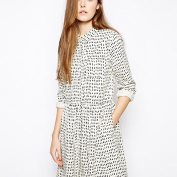Chinti & Parker Printed Button Through Dress in Big Tooth Print