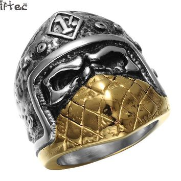 Hip Hop Punk Gothic Gold/silver 2 Tone Titanium Stainless Steel Mask Skull Biker Big Ring For Men Jewelry