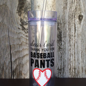Dear Lord Thank You For Baseball Pants Skinny Tumbler