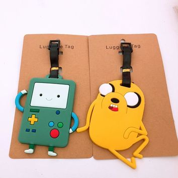 cartoon Adventure Time with Finn and Jake PVC Key chain funny anime soft rubber luggage tag boarding pass bag tags hanging 2018
