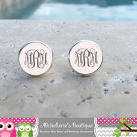 12MM Monogram Earrings Monogram Jewelry Light Pink Chevron Earrings Chevron Jewelry Personalized Accessories Glass Cabochon Gifts for Her