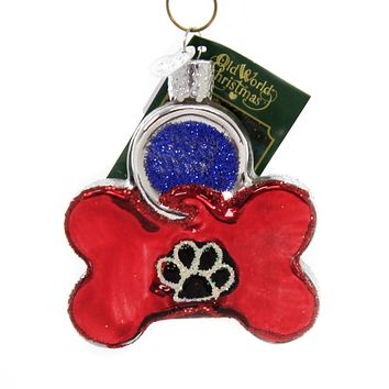 Old World Christmas DOG TAG Glass Pets Name Owner Id 32402