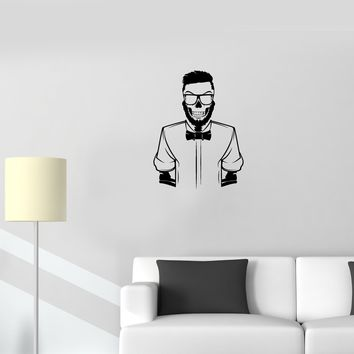 Wall Decal Skeleton Skull Points Beard Fashion Hipster Vinyl Sticker Unique Gift (ed772)
