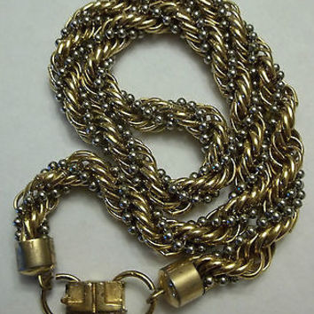 VINTAGE LANVIN PARIS NECKLACE TWISTED ROPE HAUTE COUTURE EARLY LOGO