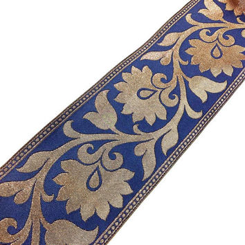 Brocade Silk Border - Extra wide Indian Silk  Border for Sari and Dresses - Charcoal Blue and Gold