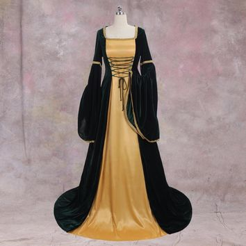 Renaissance Medieval Dress Green And Gold Ball Gown Custom Made