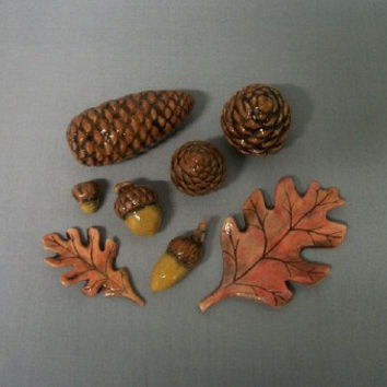 Ceramic Leaves Pinecones and Acorns Woodland Decor for Home or Garden