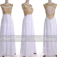 White Lace Prom Dresses, 2014 Prom Gown, Straps with Open Back Lace and Chiffon Long White Prom Dresses, White Lace Formal Gown