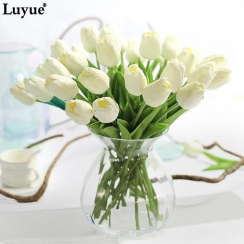 Luyue 31pcs Tulip Artificial Flowers PU Wedding Decor Simulation Bride Bouquet Calla Real Touch Flores Para Home Garden & Wreath