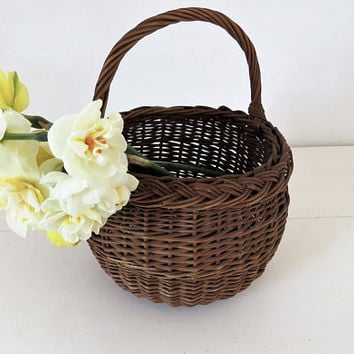 Vintage French, Small, Wicker Basket