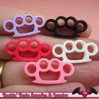 5pc KNUCKLE DUSTERS Small Flatback Decoden Kawaii Cabochons / Cellphone Deco 24x12mm
