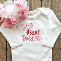 Baby Girls Valentines Day Bodysuit and Bow - Little Heart Breaker - Red and Black Boutique Baby Clothing - Wholesale - Baby Shower Gifts
