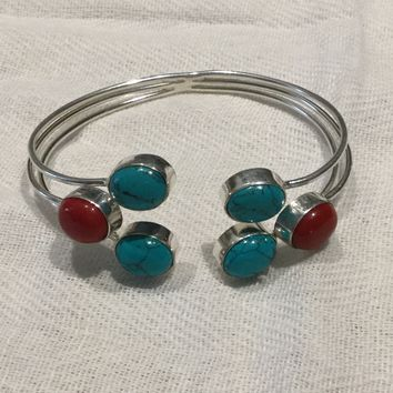 Turquoise and coral silver bangle bracelet