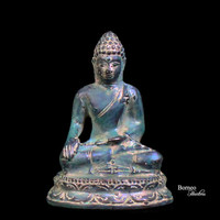 "2.5""Bronze Sitting Buddha Earth Touching Mudra Gesture Meditation"