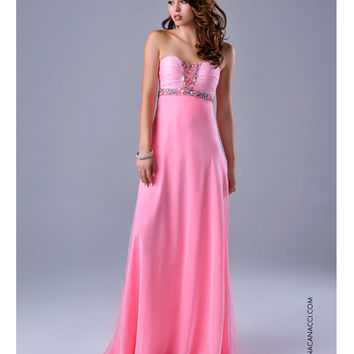 Ruched Strapless Embellished Pink Gown