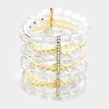 """faux pearl clear bead crystal stretch bracelet bangle 3"""" wide"""