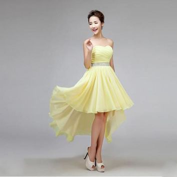 2017 new bridesmaid dress chiffon with crystal low high short front long back yellow elegant sleeveless lace up red in stock