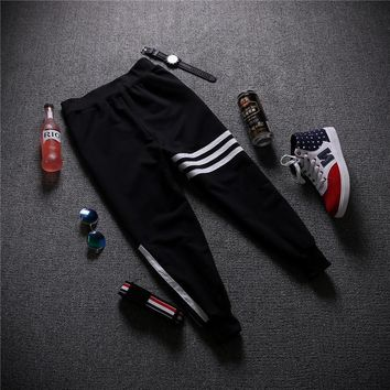 Men's Fashion Korean Mosaic Stripes Casual Pants Capri [6541226179]