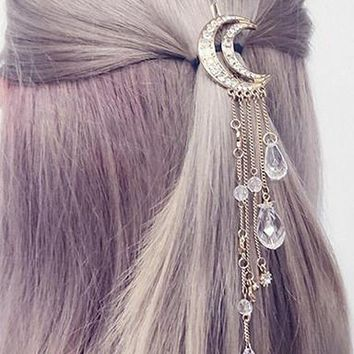 Moon Crystal Drops Hair Pin