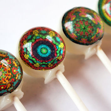 Pretty patterns series - kaleidoscope pattern - ball style edible images hard candy lollipop - 6 pc. - MADE TO ORDER