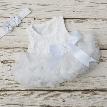 Baptism dress, Christening dress. Baby girl baptism dress, Baby girl first birthday outfit. Baby tutu dress. 2 piece set