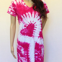 Breast Cancer Awareness Tie Dye Ribbon T-shirt Dress