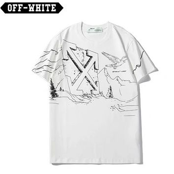 Off White Fashion New Cross Arrow Eagle Print Women Men Top T-Shirt White
