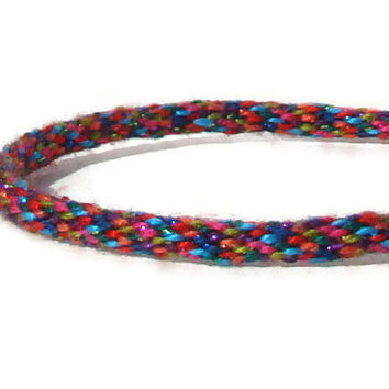 NEW-- Cozy Collection rainbow metallic kumihimo bracelet with stainless steel magnetic clasp