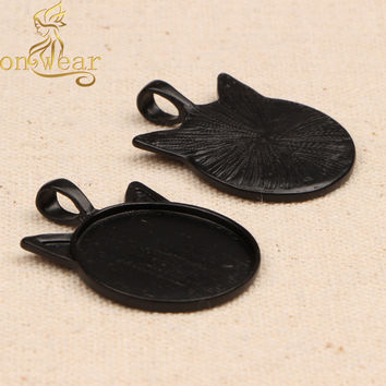 20pcs Cat Ear Cabochon Base Settings 25mm Round Blank Black Pendant Trays diy necklace accessories